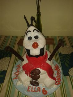 My great niece had a 6th Birthday and inspired by Frozen I thought i would make Olaf, i have never made a snow man and never had a cake lesson in my life but i am a bakers Daughter and i believe in trying anything cakey at least once. This was a real Bake , make and learn, but i did enjoy it and i love him ;0) . MORE importantly he was well received .