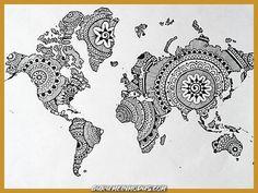 Zentangle, mandala world map. Karten Tattoos, Mandalas Drawing, Zentangles, Mandala Design, Motif Design, Map Design, Pattern Design, Print Design, Graphic Design