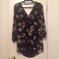 Floral Dress Long sleeve, low back floral dress. Black & pale blue. Good transitional piece!  Great condition, worn once. Astr Dresses Mini