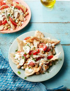 Middle Eastern chicken fatteh - Fatteh means 'crumbs', referring to the bread used in this fragrant salad