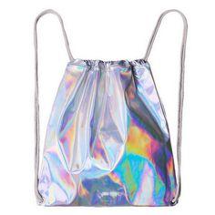 Triple Stone Women Hologram Backpack Silver Drawstring Women's Laser Holographic Bag Fashion Korean Men Travel Sliver Sackpack