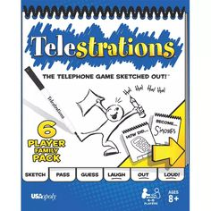 """Telestrations 6 Player - Family Pack - Telestrations is the visual version of the classic """"Telephone Game"""" where you draw what you see, then guess what you saw to reveal hilarious outcomes. It's miscommunication at its best. LOL fun for everyone! Family Games For Kids, Family Board Games, Board Games For Kids, Family Game Night, Games To Play, Lego Board Game, Kids Board, Playing Games, Social Skills Games"""