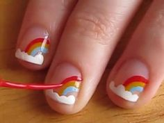 Easy nail designs for short nails - Rainbows. gonna paint my little girl's nails like this:) Little Girl Nails, Girls Nails, Cute Easy Nail Designs, Short Nail Designs, Nail Designs For Kids, Easy Designs, Cute Simple Nails, Cute Nails, Cute Nail Art