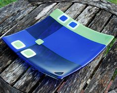 Slumped Glass, Fused Glass Plates, Glass Tray, Fused Glass Art, Glass Dishes, Mosaic Glass, Stained Glass, Glass Table, Cobalt Glass