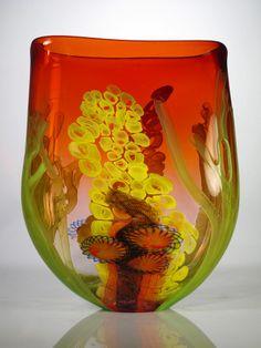 Orange Seascape Vase by Dave & Melanie Leppla.