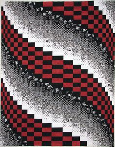 Black White RED Bargello Quilt