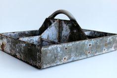 Vintage industrial metal tote
