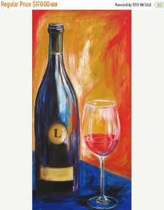 ON SALE Wine painting, wine bottle and wine glass art limited edition giclee art print on canvas , Lewis wine bottle painting with yellow a