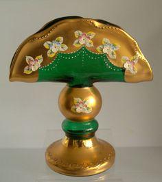 Rare Vintage Green Bohemian Enamel Glass NAPKIN Holder Stand Lot2 ~ MiNT
