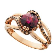 rose gold diamond fashion ring with gemstone