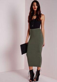 Petite Longline Jersey Midi Skirt Khaki