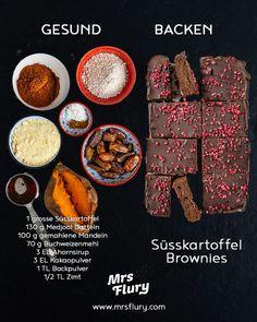 Sweet potato brownies vegan / Healthy and delicious baking - Mrs Flury - eat and live healthy- Süsskartoffel Brownies vegan / Gesund und lecker backen – Mrs Flury – gesund essen & leben Healthy Sweet Potato Brownies Vegan & Gluten Free Mrs … - Healthy Dessert Recipes, Health Desserts, Healthy Baking, Healthy Snacks, Vegan Recipes, Dessert Food, Eat Healthy, Vegan Sweets, Vegan Desserts