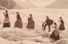 "mer de glace_ ""Does my bum look big in this?"" blown-up detail Victorian Life, Victorian Women, Vintage Photographs, Vintage Photos, 1870s Fashion, Grand Tour, Vintage Travel Posters, Outdoor Photography, British History"