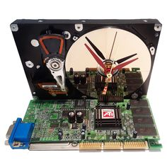 Unusual Computer Clock Desk Clock? Computer Parts Accent Base! Unique Hard Drive Clock is an Amazing Clock Award Clock Got Office Gift