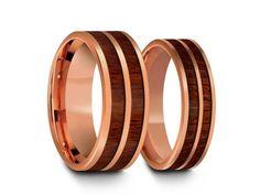 Tungsten Carbide Matching Bands - Tungsten Wedding Band Set - Rose Gold Ring Set - Koa Wood Ring Set - Anniversary Ring Set - Comfort Fit  6mm-8mm