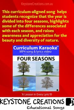 This curriculum-aligned song helps students to recognize that the year is divided into four seasons. The song, with its hauntingly beautiful Irish instrumentals, highlights some of the differences associated with each season, and raises awareness and appreciation for the beauty and diversity of nature. 'A Lesson in Every Lyric'™ #Teachers #School #Curiculum #Songs #videos #integratedlearning #artsintegration #keysubjectareas #distancelearning #homeschooling #seasons #Four Seasons #NaturalScience Learning Resources, Teaching Ideas, Help Song, Seasons Lessons, Classroom Whiteboard, Poetry Unit, Poetry Lessons, Student Reading, Student Engagement