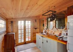 {rustic tiny cabin} kitchen — 480 sq ft on 52 acres. #shurtlefffarm