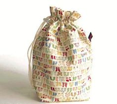 Drawstring Bag Padded Knitting Project  Bag Tiny by zigzagstitches