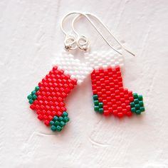Peyote Stitch Christmas Stockings Beaded Earrings, Sterling Silver Jewelry