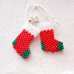 Peyote Stitch Christmas Stockings Beaded Earrings, Sterling Silver Jewelry