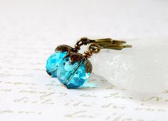 Teal Blue Earrings Drop Crystal Antique Brass by MsBsDesigns, $18.00