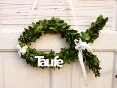 Türkranz zur Taufe, Taufkranz, Dekoration / baptism door wreath, decoration made by Missbellflower via DaWanda.com