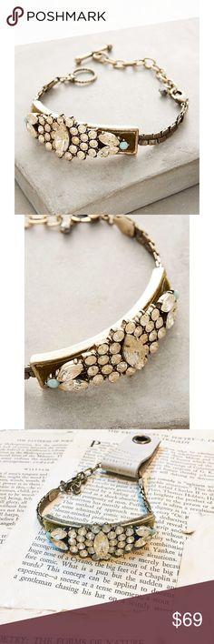 "Anthropologie Bracelet Anthropologie Velvet Dramaturge Bracelet. Antiqued gold tone bracelet. Glass, resin, velvet ribbon. Hook and toggle closure. 7.5"" long with2.5"" extender. 0.75"" wide. Anthropologie Jewelry Bracelets"