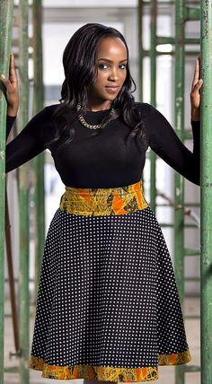 Sasha Polka Dot and African Print Skirt ~DKK ~ Latest African fashion, Ankara, kitenge, African women dresses, African prints, African men's fashion, Nigerian style, Ghanaian fashion.
