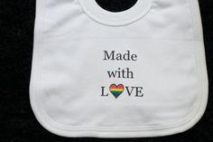 Gay Pride Bib // 2 MOMS // LGBT Lesbian Same Sex by MadeBy2Moms