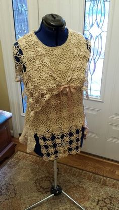 Tea Stained Upcycled Crocheted Top