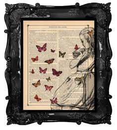 Dancing Butterflies with ALICE Book print Alice in Wonderland on Vintage Dictionary Antique Book page art print. $10.00, via Etsy.