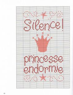 Lovely for a little girl's door. Like the fact it's French, too; good way to make language part of everyday life Cross Stitch For Kids, Cross Stitch Love, Cross Stitch Charts, Cross Stitch Patterns, Baby Embroidery, Cross Stitch Embroidery, Embroidery Patterns, C2c, Cross Stitch Silhouette