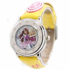 New Yellow Band Round PNP Shiny Silver Watchcase Children Watch KW056D