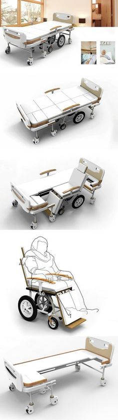 The LOHAS bed can be folded and transformed into a wheelchair in a matter of minutes without disturbing the patient with the help of only one nurse instead of 3.