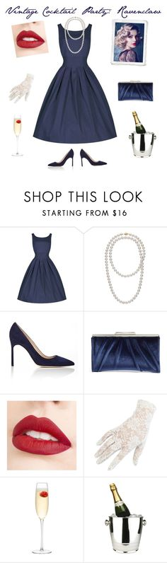 """Vintage Cocktail Party: Ravenclaw"" by bluejasmine360 ❤ liked on Polyvore featuring Manolo Blahnik, Glint, Jouer, Black, LSA International, Winco and vintage"