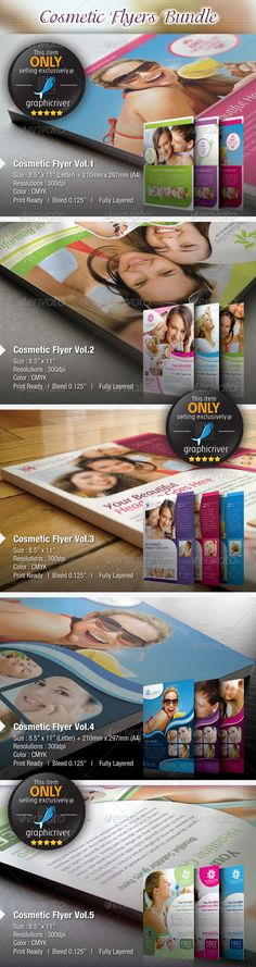 """Cosmetic Flyers Bundle  #GraphicRiver         This VALUE BUY Corporate Flyer Bundle containing 6 clean and modern designs with 3 colors variant in each design respectively. Just easy edit and customize to fit your needs.     Fonts : Only FREE font used. All FREE font download link included in help.txt files  Color : CMYK  Files : .psd  Size : 8.5"""" x 11"""" / 300dpi  bleeding : 0.125""""   Fully layered  Smart object layer to edit images  images used are not included.  help.txt…"""