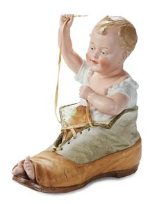 """Grand-Sized Rare German """"Baby in Papa's Shoe"""" by Gebruder Heubach 1100/1500"""