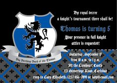 Knight Birthday Party Invite print your own by APartyStudio, $15.00