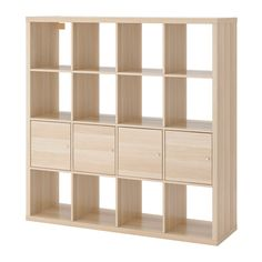 IKEA - KALLAX, Shelving unit with 4 inserts, white stained oak effect,