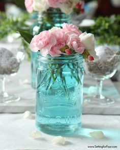 The easiest way to tint mason jars of water --add a drop (or more for greater color intensity) of food coloring to the water found at settingforfour.com