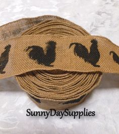 Natural Burlap Wired Rooster Ribbon -  2 yards,  3 inches wide. $4.99, via Etsy.