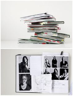 photo journal - To meet mailing requirements: print photo collages on regular printer paper, stitch up middle, fold in half, write a story.