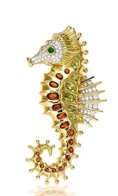 A diamond, gem-set and eighteen karat gold brooch, Valentin Magro