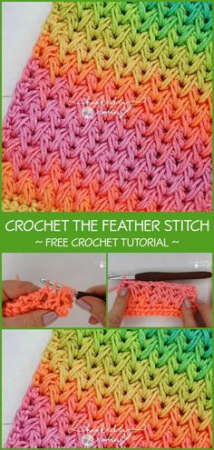 Crochet feather stitch is one of those beautiful and unusual stitch patterns every crochet hooker should learn. Different Crochet Stitches, Crochet Stitches Patterns, Crochet Designs, Knitting Patterns, Crochet Crafts, Easy Crochet, Crochet Projects, Free Crochet, Crochet Feather