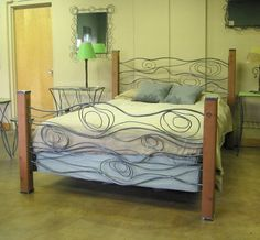 Wood Grain Bed of Steel and Cedar by deliafurniture on Etsy, $1000.00