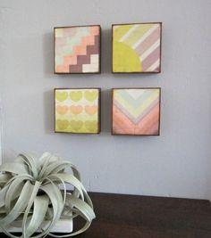 Art Block Set l Ombre Summer 4 5x5 wood block by redtilestudio