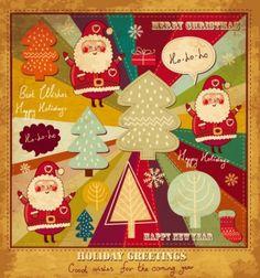 cartoon christmas card 03 vector