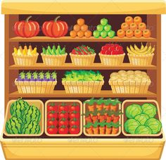 Illustration of Image of shelves in a supermarket with fruits and vegetables. vector art, clipart and stock vectors. Fruits And Vegetables Images, Vegetable Cartoon, Food Clipart, Fruit Vector, Clip Art, Grocery Store, Vector Design, Paper Dolls, Kids Playing