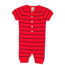 Rood-navy gestreept babypakje