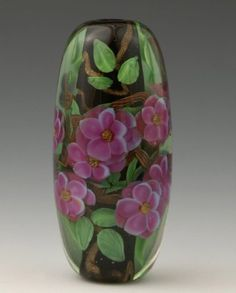 Encased Floral - 2007 Effetre glass, 2 inches long